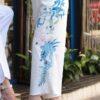 Calça Pantacur em Poliester com Desenhos Laterais Azuis