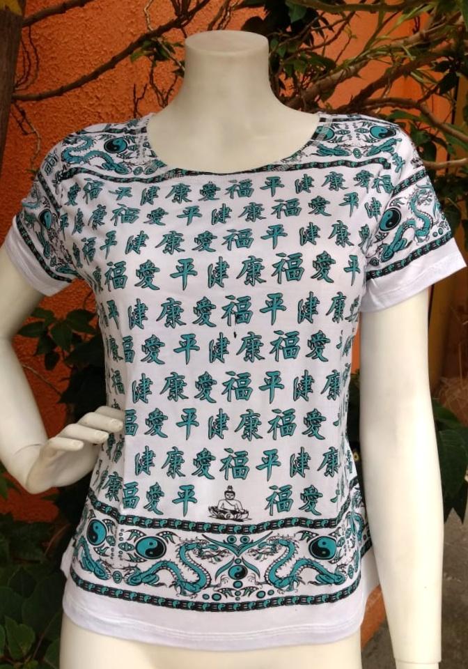 Camiseta Indiana em Malha Ideograma Branca