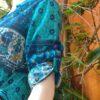 Túnica Chemisie em Algodão Estilo Maya com Meias Mangas Azul GG