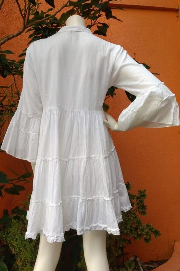 Vestido em Algodão Curto Meias Mangas Sino Rita