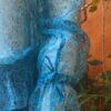 Bata Cigana Shiffon Mangas Longas Bordado Paete Azul