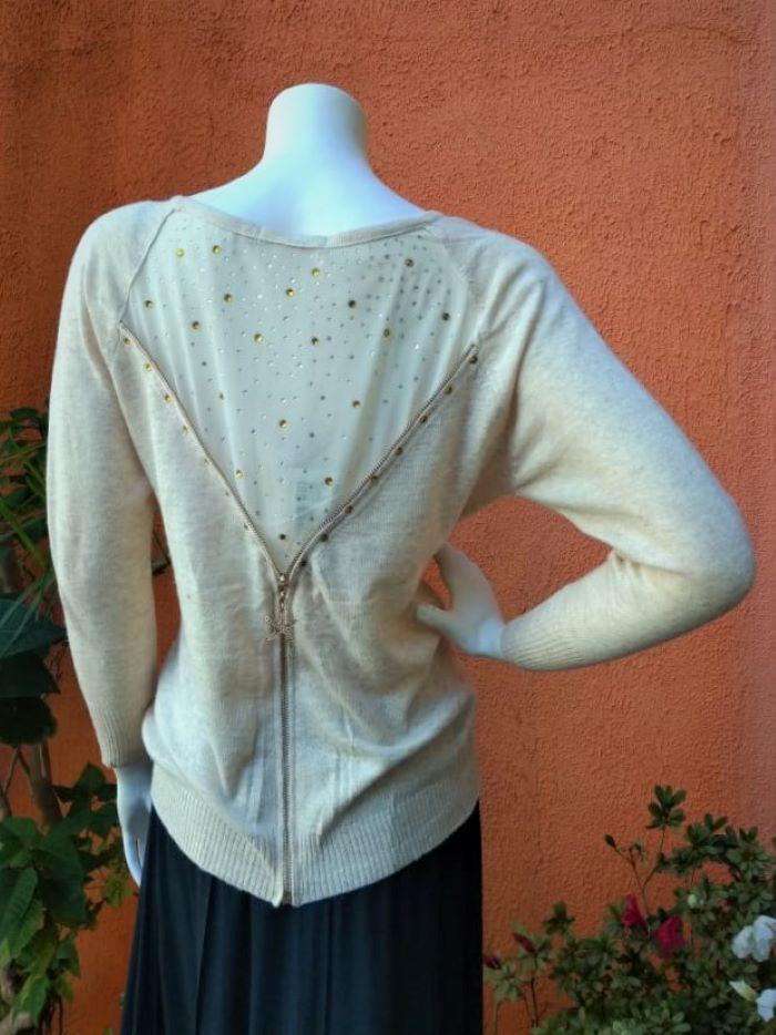 Blusa em Lã com Mangas Longas Ziper