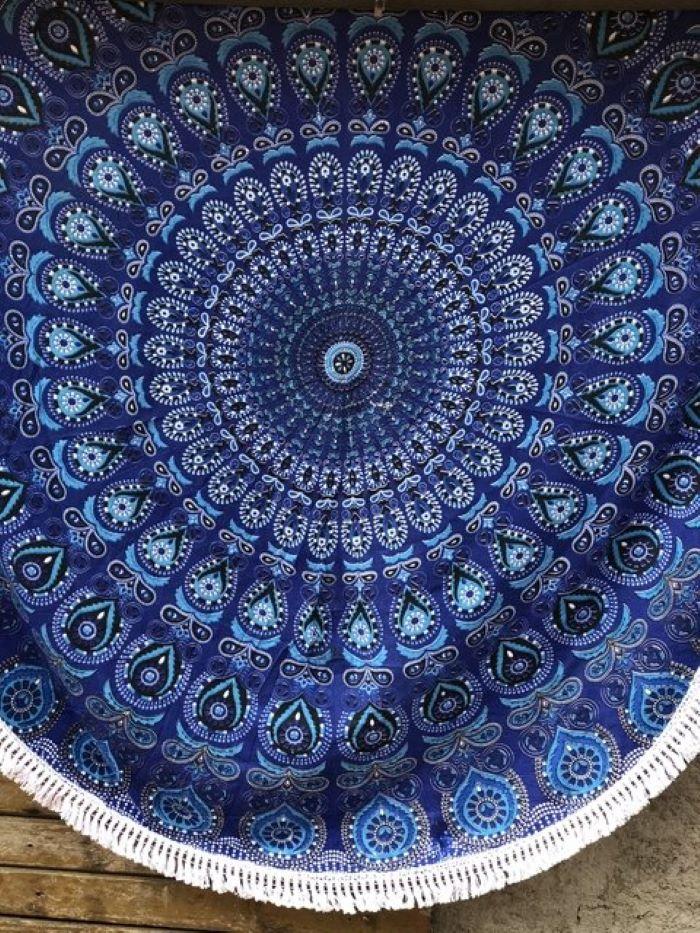 Colcha Indiana em Algodão Mandala Redonda
