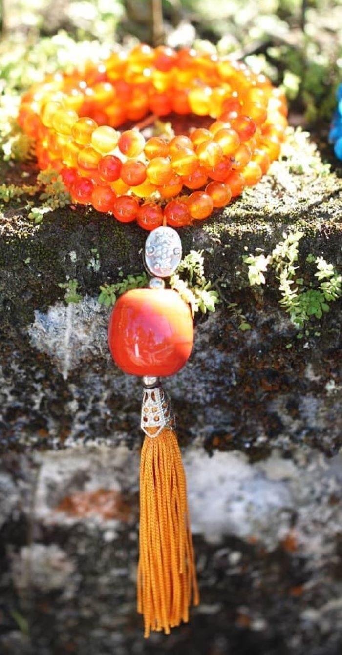 Japamala em Pedras Naturais Cornalina
