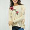 Blusa em Lã com Mangas Longas Customizada Flor