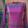 Camiseta em Malha Baby Look Mangas Longas Pink P