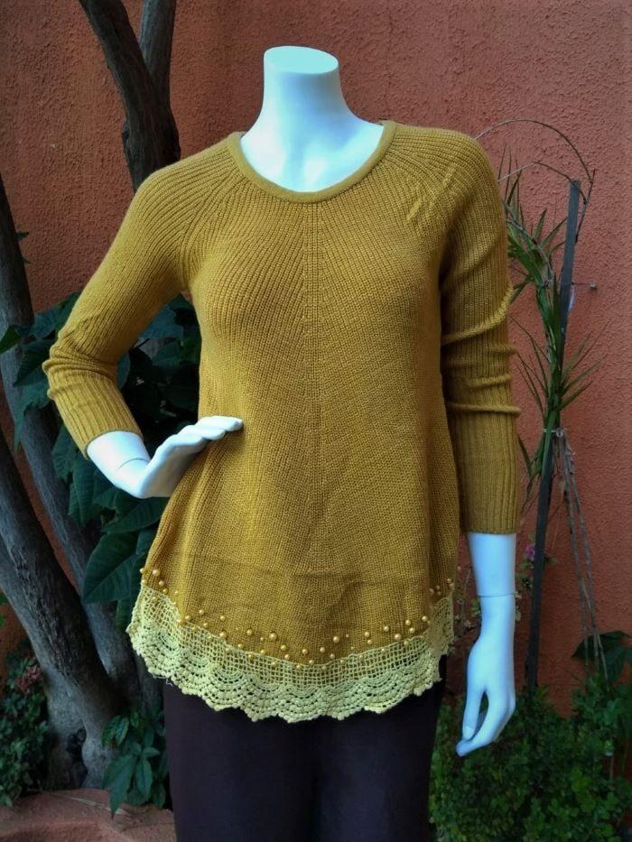Blusa em Lã com Mangas Longas Amarela Perola