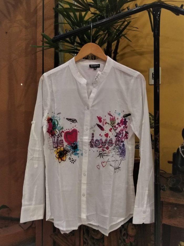 Camisa Indiana em Algodão Desigual com Mangas Longas