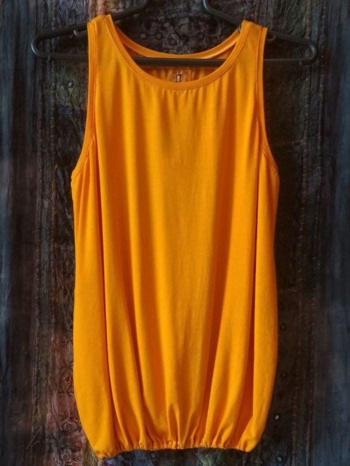 Camiseta em Malha Cavada Balonê M Amarela R313