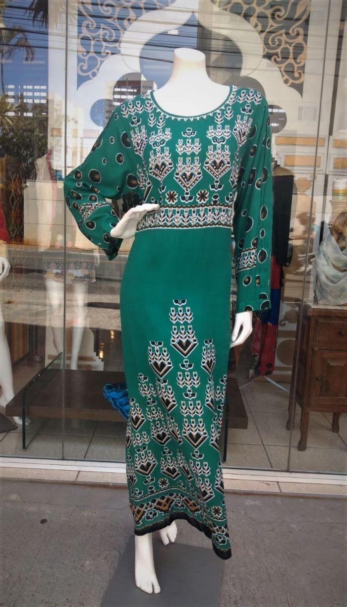 Vestido em Algodão Longo com Mangas Longas Verde