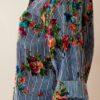 Camisa em Algodão Bordada Pompons Azul M