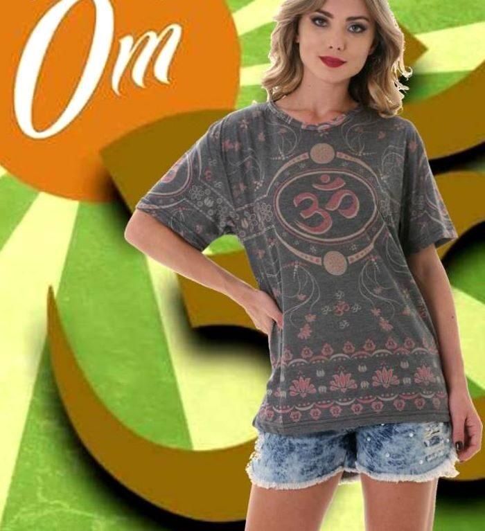 Camiseta em Malha com Mangas Curtas Unissex OM Cinza